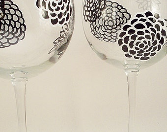 Black and white flowers, modern floral design, hand painted wine glasses, painted glassware, set of 2