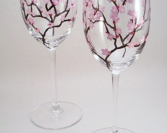 Pink cherry blossoms, hand painted wine glasses, cherry blossom wine glasses, gift for her, set of 2