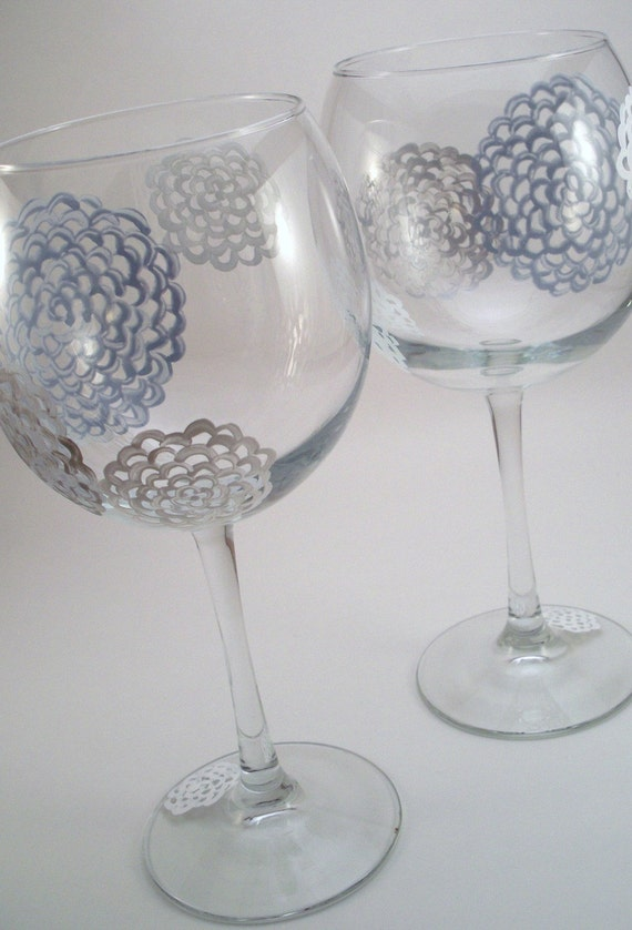 Lacy Dream - hand painted wine glasses, silver painted stemware, silver and gray mums - set of 2