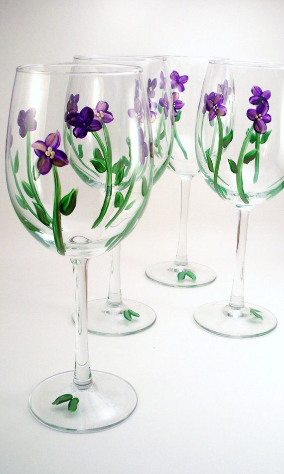 Hand painted wine glasses - purple violets, floral painted glassware - set of 4