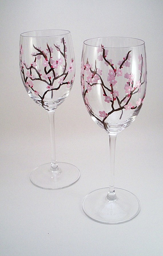 Pink Cherry Blossoms Hand Painted Wine Glasses Cherry