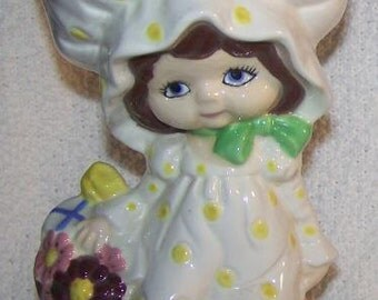 Ceramic Little Girl Statue Vintage 1970s Handmade glass collectable girls room decor Holly hobbit spring easter gift cute COUPON  Nursery