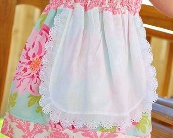 """PDF Pattern Boutique Spring  Summer Size 12 months to 12  13"""" and 18"""" Doll Juvie Moon Designs PDF Download Pattern  Nadia Apron Dress"""