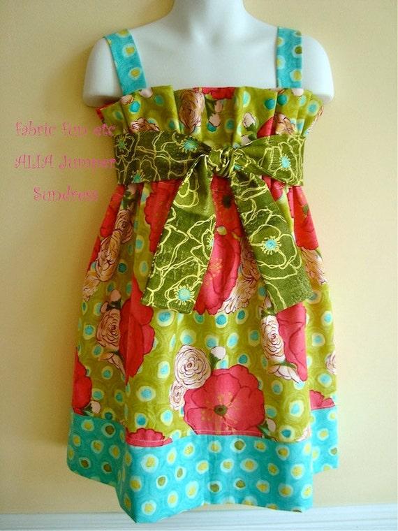 "PDF Pattern Easy to Sew Beginner Jumper Sundress ALIA Jumper Sundress  Free 18"" Doll Dress"