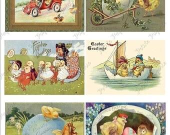 Vintage Easter Postcards Digital Download Collage Sheet E 2.75 x 4 inch