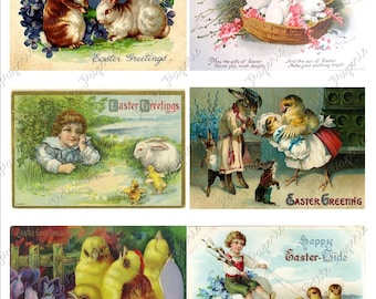 Vintage Easter Postcards Digital Download Collage Sheet I 2.75 x 4 inch