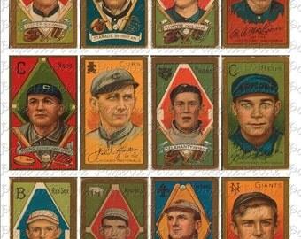 Vintage Baseball Cards Digital Download Collage Sheet C