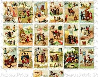 Vintage ABC Book Digital Download Collage Sheet