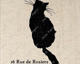 Black Cat Le Chat Noir Digital Download for Iron on Transfer