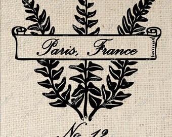 French Fern Paris Digital Download Iron on Transfer