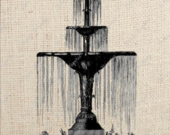 Digital Download Iron on Transfer French Water Fountain