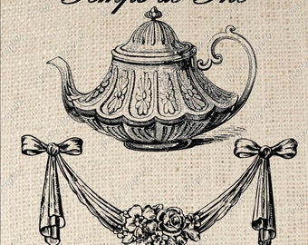 Digital Download For Iron on Transfer French Tea Time Teapot