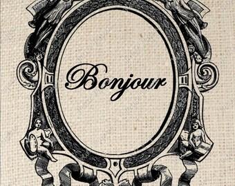 Digital Download Iron on Transfer French Bonjour Sign in Angel Frame