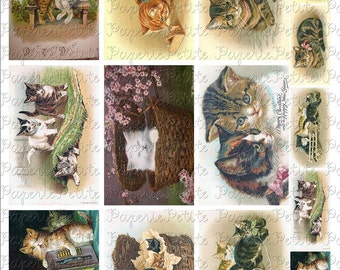 Cat Postcards Digital Download Collage Sheet 3.5 x 2.25 Inch
