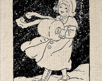 Snow Girl Winter Digital Download Iron on Transfer