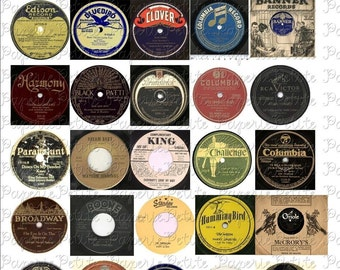 Vintage Record Labels Digital Download Collage Sheet