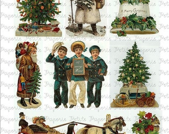Victorian Christmas Digital Download Collage Sheet B