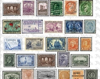 Vintage Canadian Postal Stamps Digital Download Collage Sheet
