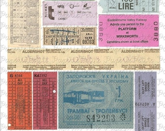 Vintage Ticket Stubs Digital Download Collage Sheet