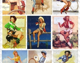 Cowboy Cowgirl Pin-Up Girls Digital Download Collage Sheet
