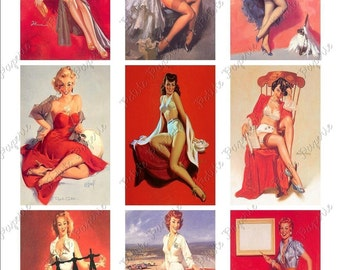 Red Hot Vintage Pin-Up Girls Digital Download Collage Sheet 3.5 x 2.25