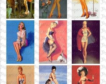 Vintage Pin-Up Girls Digital Download Collage Sheet B 3.5 x 2.25
