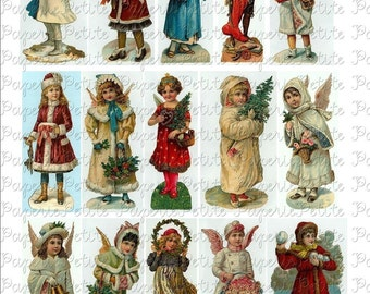 Victorian Christmas Girls Digital Download Collage Sheet