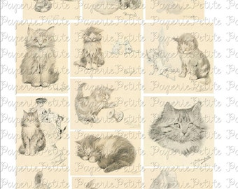 Vintage Cats Digital Download Collage Sheet A