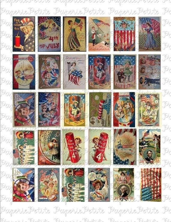 Fourth of July Postcard Digital Download Collage Sheet