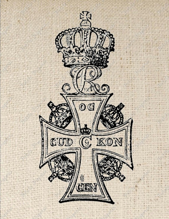Digital Download for Iron on Transfer Royal Crown Cross