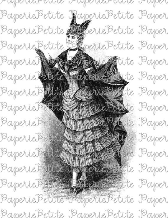 Victorian Bat Woman Digital Download Collage Sheet Halloween