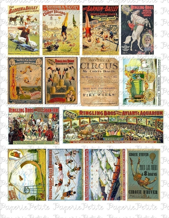 Vintage Circus Posters Digital Download Collage Sheet