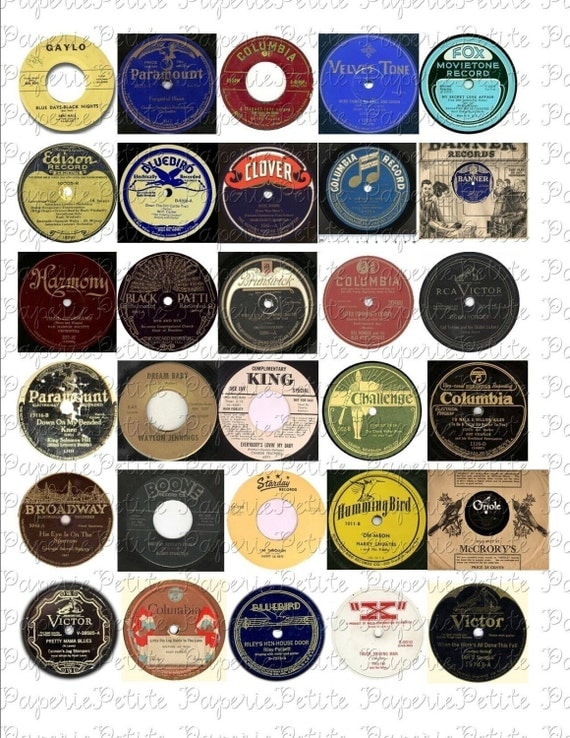 Vintage record labels digital download collage sheet for Classic house record labels
