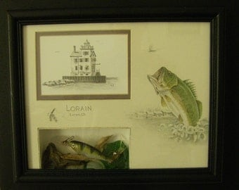Lorain Lighthouse seascape 100 yrs old - shadow box frame - bass fish tackle lure beach glass watercolor Mixed Media Original m3DrawingsPlus