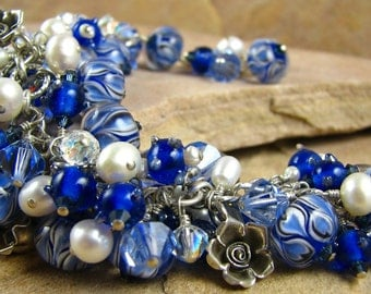 Cha Cha Bracelet, Blue Glass Beads, Blue Bangle, Cha Cha Bangle, Boho Bracelet, Boho Bangle, Glass Bracelet
