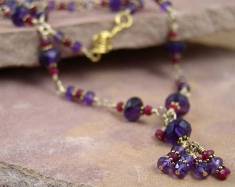 Amethyst Necklace, Gold, Ruby and Amethyst Necklace, Wire Wrapped Necklace, Purple and Gold Necklace