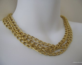 Sophisticated Golden Multistrand Necklace, Statement Collar, Steel Necklace