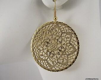 Ornate Medallion Earrings, Gold Earrings