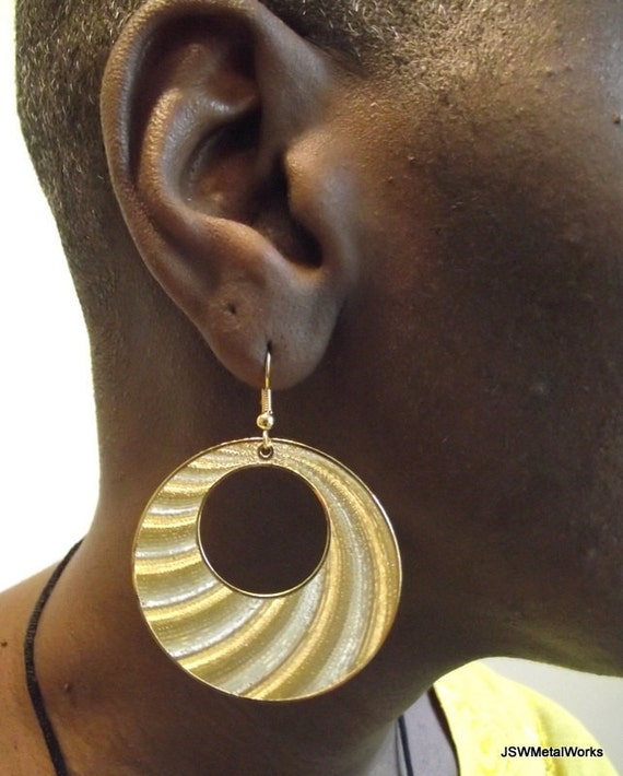 Medium Round Golden Laser Cut Medallion Swirl Earrings, Gold Earrings