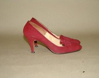 Vintage Burgundy Suede  High Heels