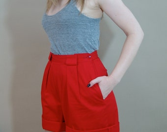 Vintage High Waisted Red Shorts Fully Lined