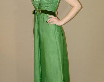 Vintage Green Prom DRESS, Custom Tailored, 1970s