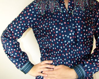 Vintage Navy Floral Long-Sleeve Shirt