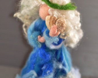 Needle Felted Waldorf-Wool Fairy-Sea fairy- standing doll-soft sculpture--needle felt by Daria LvovskyMade to custom orders.