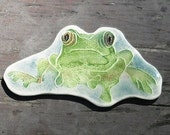 OOAK FROG BROOCH gorgeous google-eyed gem of a lapel pin amphibian handmade gift original design ceramic watercolor by Wisconsin artist