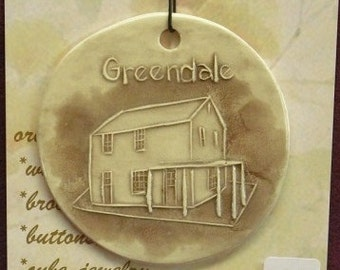 GREENDALE ORIGINAL HOUSE Wisconsin Green belt community ornament handmade ceramic