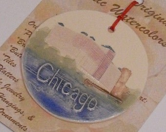 MERCHANDISE MART, CHICAGO personalizable ornament handmade ceramic watercolor hanging colorful original design by Wisconsin artist