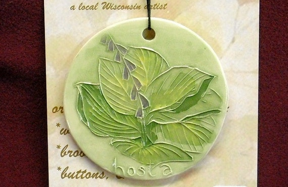MOM'S FAVORITE HOSTA handmade ceramic watercolor hanging ornament original perennial garden lover's gift