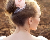 Eleanor small peach color wedding bridal flower hair clip with lace and pearls