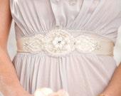 white beaded Crystals wedding sash - bridal white lace crystals beaded sash